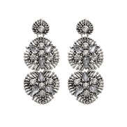 ( Silver)occidental style crystal generous earrings   exaggerating trend fashion earrings
