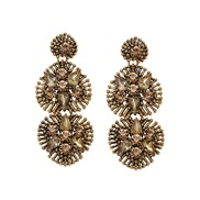 ( Gold)occidental style crystal generous earrings   exaggerating trend fashion earrings