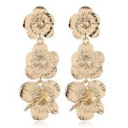 occidental style fashion  Metal flowers temperament ear stud