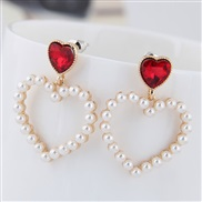 fine  Korean style fashion  Metal sweet Peach heart Pearl personality temperament ear stud