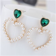 fine  Korean style fashion  Metal sweet Peach heart Pearl personality temperament ear stud