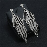 ( Silver)occidental style exaggerating personality Rhinestone temperament ear stud claw chain long style tassel earrings