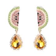 ( yellow)occidental style fashion fruits earrings drop earring woman Earring