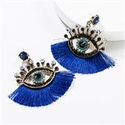 ( blue)exaggerating occidental style Acrylic diamond eyes tassel earrings woman fashion personality ear stud Bohemian st