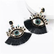 ( black)exaggerating occidental style Acrylic diamond eyes tassel earrings woman fashion personality ear stud Bohemian s