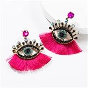 ( rose Red)exaggerating occidental style Acrylic diamond eyes tassel earrings woman fashion personality ear stud Bohemia