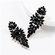 ( black)occidental style exaggerating multilayer Acrylic diamond geometry fully-jewelled earrings woman retro generous t