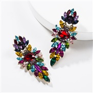 ( Color)occidental style exaggerating multilayer Acrylic diamond geometry fully-jewelled earrings woman retro generous t