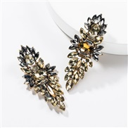 ( Gold)occidental style exaggerating multilayer Acrylic diamond geometry fully-jewelled earrings woman retro generous te