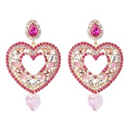 ( Pink) occidental style creative heart-shaped earrings earring color diamond ear stud personality all-Purpose woman