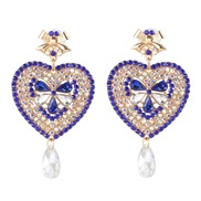 occidental style creative heart-shaped earrings earring color diamond ear stud personality all-Purpose woman