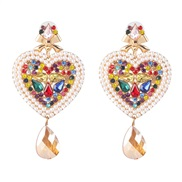 ( Color) occidental style creative heart-shaped earrings earring color diamond ear stud personality all-Purpose woman