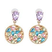 ( Color) geometry creative Round diamond ear stud exaggerating woman earrings