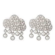 ( Silver) creative drop Alloy Pearl ear stud retro palace earrings