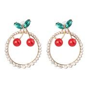 ( red)occidental style beautiful creative earrings fruits cherry earring Rhinestone