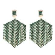 ( green)occidental style creative tassel Rhinestone earrings geometry earring fashion new arring