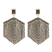 ( black)occidental style creative tassel Rhinestone earrings geometry earring fashion new arring
