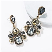 ( Gold)occidental style wind exaggerating multilayer drop Acrylic diamond fully-jewelled earrings woman retro fashion ea