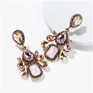 ( Pink)occidental style wind exaggerating multilayer drop Acrylic diamond fully-jewelled earrings woman retro fashion ea