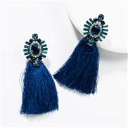 ( blue)occidental style exaggerating Acrylic diamond long style tassel earrings woman retro Bohemia ethnic style