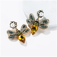 ( Gold)occidental style butterfly embed colorful diamond multilayer earrings retro Bohemian style