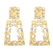 ( yellow) occidental style color glass diamond diamond hollow ear stud earring flowers