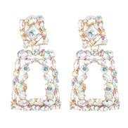 (AB color) occidental style color glass diamond diamond hollow ear stud earring flowers