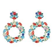 occidental style exaggerating geometry flower Alloy diamond ear stud earrings
