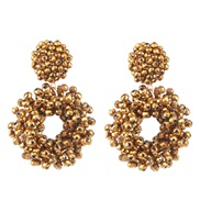 ( Gold) occidental style geometry crystal beads ethnic style ear stud personality