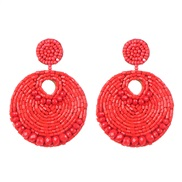 ( red) occidental style geometry crystal beads ethnic style ear stud personality