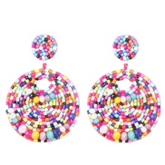 ( Pink) occidental style geometry crystal beads ethnic style ear stud personality