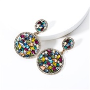 ( Color)occidental style Double layer big samll Round Acrylic diamond fully-jewelled earrings woman trend fashion super