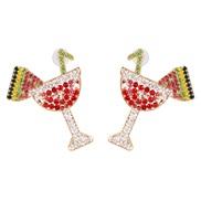 ( red) ear stud woman creative Korean style brief small fresh diamond
