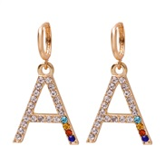 (A) occidental style fashion all-Purpose colorful diamond ear stud personality Word earrings woman