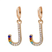(J) occidental style fashion all-Purpose colorful diamond ear stud personality Word earrings woman