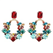 ( Color)occidental style wind geometry square earrings fashion earring high-end