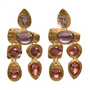 ( Rose Gold) Alloy gem series Irregular earring  occidental style exaggerating gem all-Purpose woman earrings