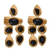 ( Black ) Alloy gem series Irregular earring  occidental style exaggerating gem all-Purpose woman earrings