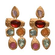 Alloy gem series Irregular earring  occidental style exaggerating gem all-Purpose woman earrings