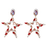 ( Color) occidental style brief Five-pointed star diamond ear stud earring Earring high-end quality