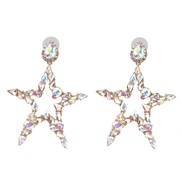(AB color) occidental style brief Five-pointed star diamond ear stud earring arring high-end quality