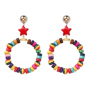 (  Five pointed star ) ethnic style Bohemia color geometry ear stud heart-shaped Five-pointed star earrings woman