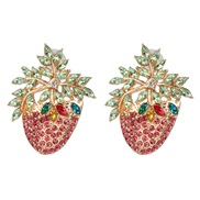 ( Pink) occidental style retro personality ear stud diamond arring high-end quality