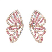 ( Pink) occidental style exaggerating butterfly wings diamond earrings personality creative color ear stud woman arring