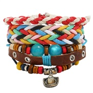 retro rope weave braceletdiy three bracelet lady beads Cowhide bracelet