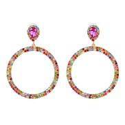 occidental style personality exaggerating geometry Round color diamond earring