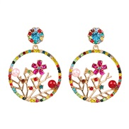 ( Color) occidental style personality exaggerating Alloy hollow branch flowers ear stud retro woman earrings