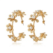( Gold)occidental style  temperament all-Purpose flowers lady ear stud  color Pearl circle circle Earring earring