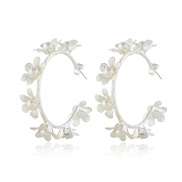( Silver)occidental style  temperament all-Purpose flowers lady ear stud  color Pearl circle circle arring earring