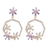 (purple) occidental style geometry color glass diamond diamond hollow ear stud earring flowers